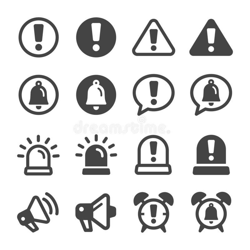 Alert and reminder icon set. Vector and illustration royalty free illustration