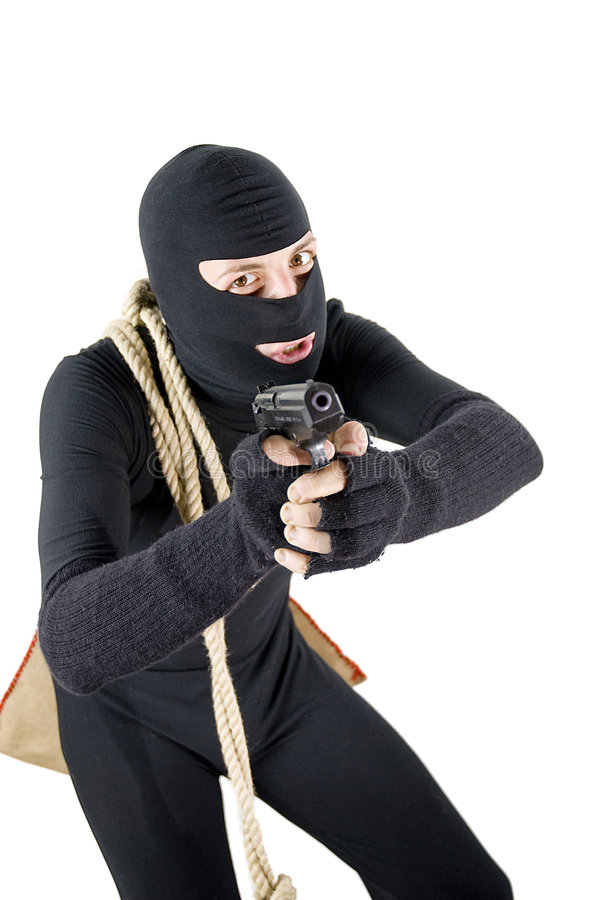 Download Alert thief ready to shoot stock photo. Image of hostage - 6944608
