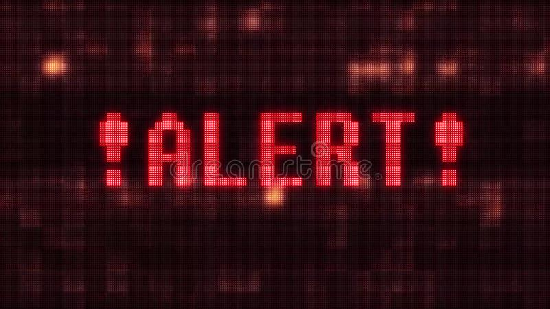 Alert warning word text on glitch digital lcd screen illustration new quality techology colorful joyful vintage stock. Image stock illustration