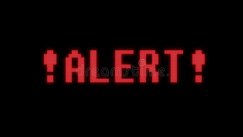 Alert warning word text on glitch digital lcd screen illustration new quality techology colorful joyful vintage stock. Image vector illustration
