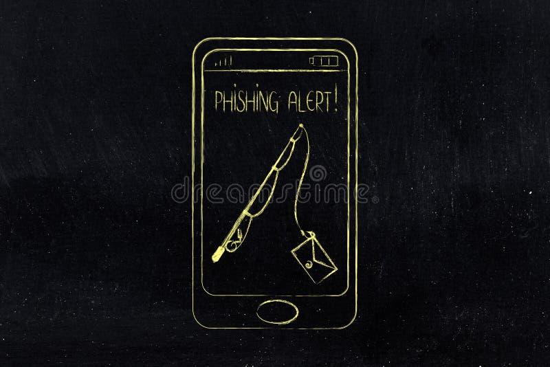Alerta de Phishing no smartphone, vara de pesca com o email em vez de foto de stock