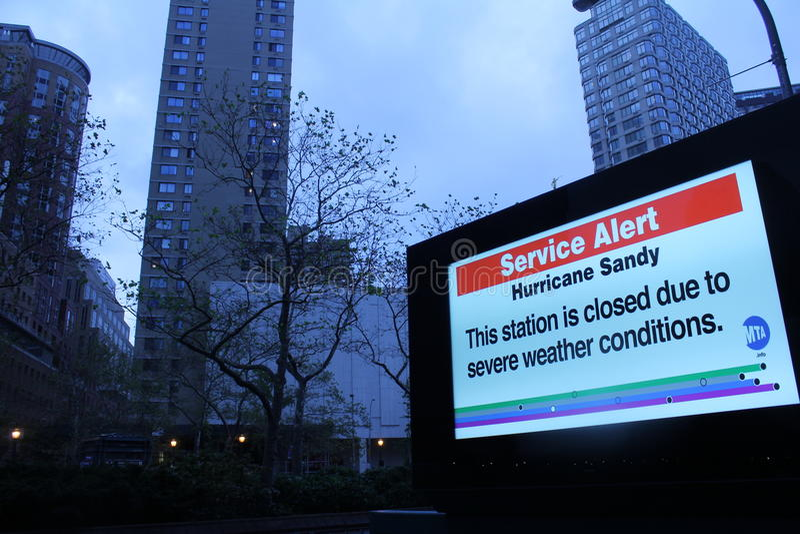 Alerta do metro de Sandy do furacão imagem de stock
