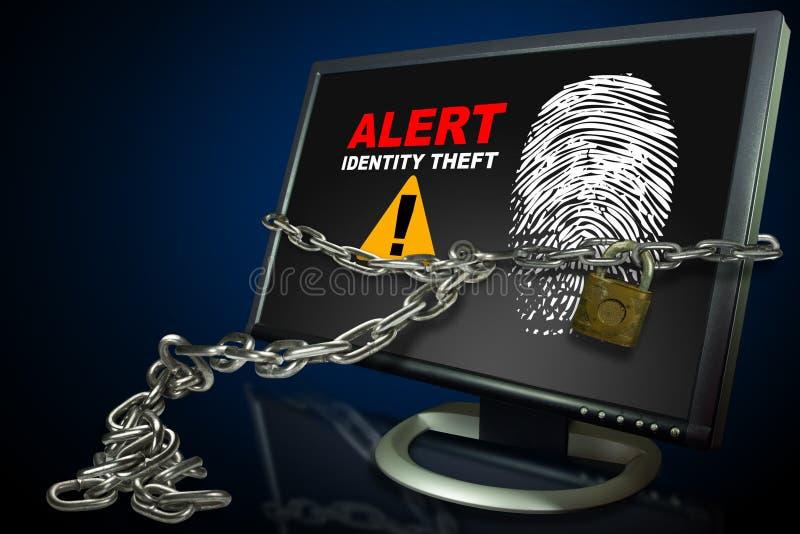 Alerta do roubo da identificação do computador fotografia de stock