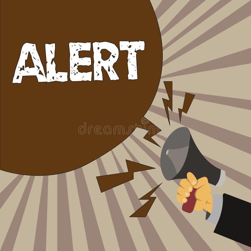 Alerta do texto da escrita Conceito que significa um aviso do sinal do anúncio do perigo o estado de ser vigilante ilustração royalty free