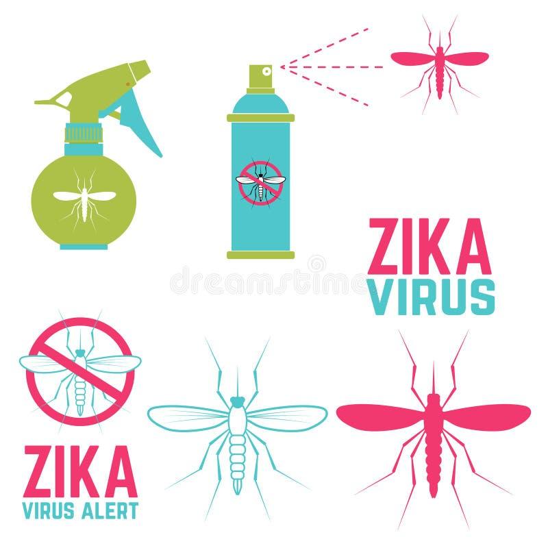 Alerta do vírus de Zika Jogo de elementos do projeto ilustração stock