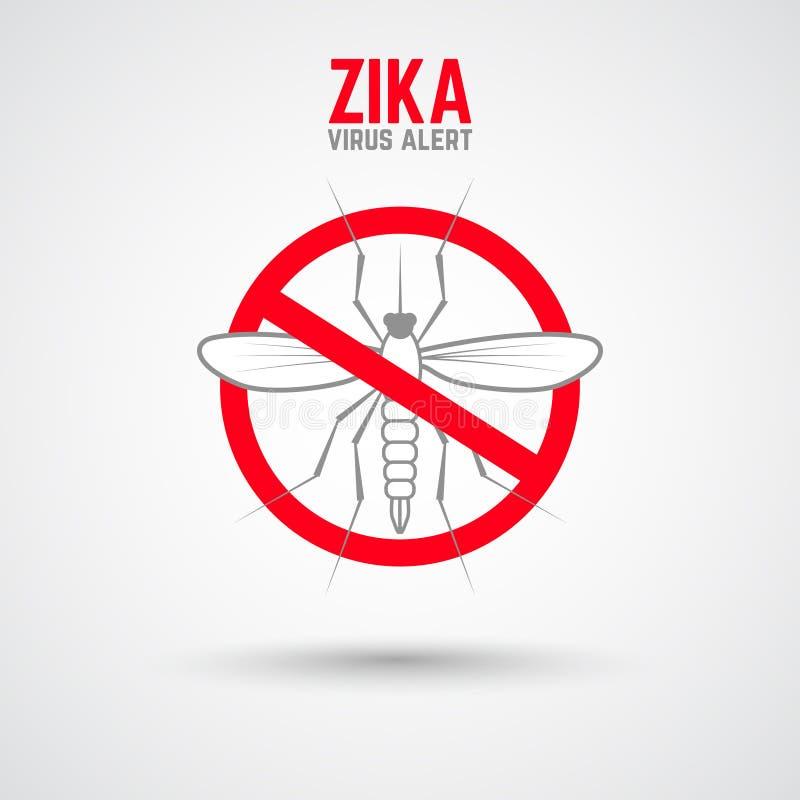 Alerta do vírus de Zika Moskit com frase ilustração do vetor