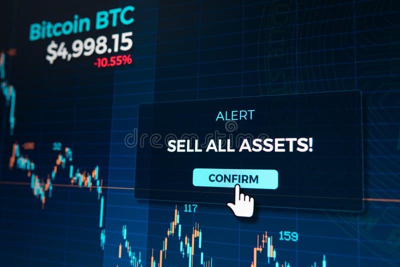 Alerta na carta do gráfico do cryptocurrency na tela de troca do app ilustração do vetor