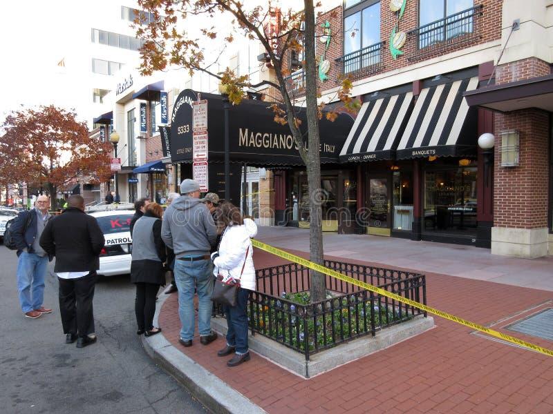 Alerte à la bombe au restaurant du ` s de Maggiano images stock