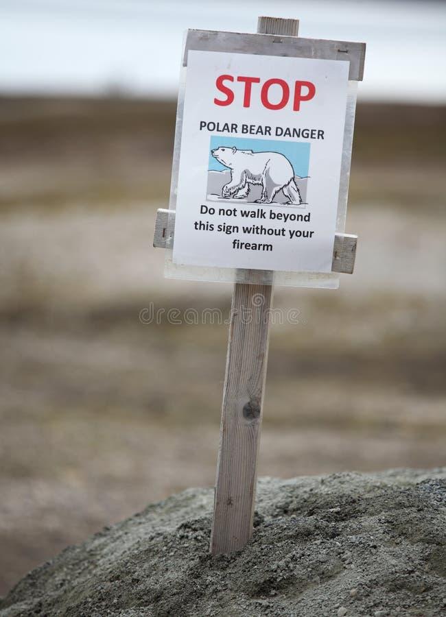 Alerte d'ours blancs de panneau d'avertissement images stock