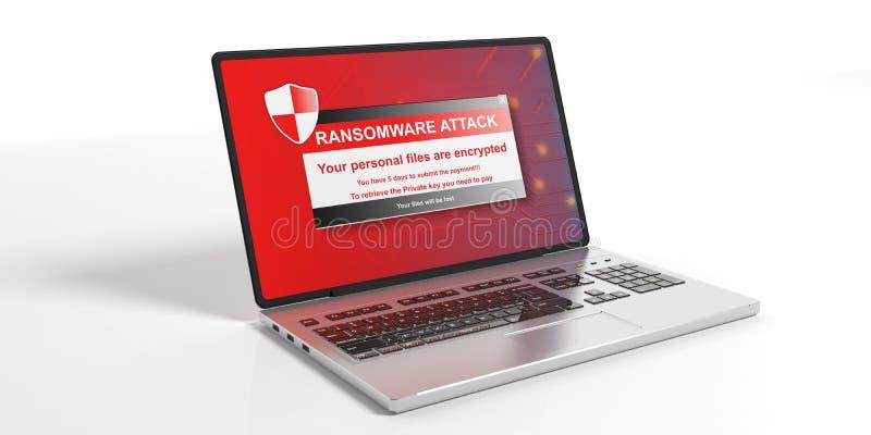 Alerte de Ransomware sur un écran d'ordinateur portable illustration 3D illustration stock