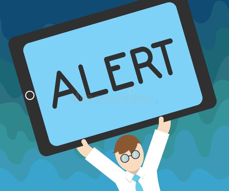 Alerte des textes d'écriture Concept signifiant un avertissement de signal d'annonce du danger l'état d'être vigilant illustration stock