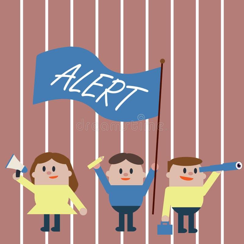 Alerte des textes d'écriture Concept signifiant un avertissement de signal d'annonce du danger l'état d'être vigilant illustration de vecteur
