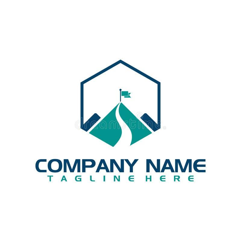 Alerte sur le logo simple supérieur de vecteur de montagne illustration de vecteur