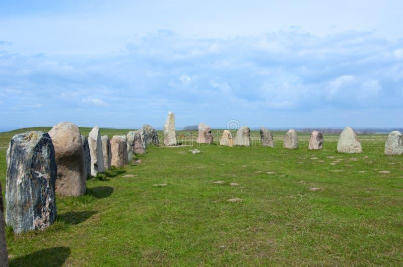 Ales Ale ` s stenar kamienie, Archeologiczny miejsce w Południowym Szwecja zdjęcia stock