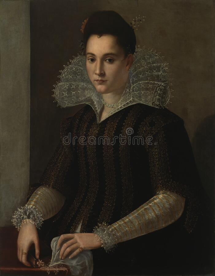 Alessandro Allori, circle of / piiri / krets (1535–1607): Portrait of a Lady / Naisen muotokuva / Porträtt av dam royalty free stock image