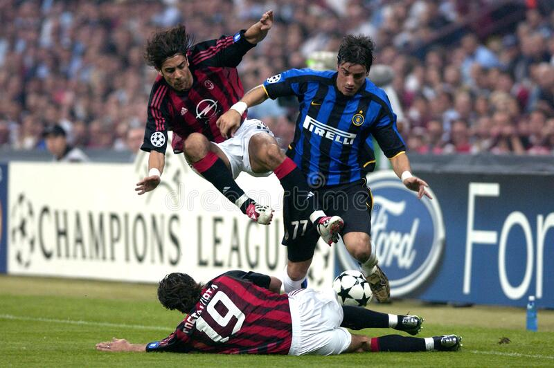 Alessandro Costacurta in action during the match. Milan  Italy  07 May 2003, `G.MEAZZA SAN SIRO ` Stadium,  UEFA Champions League 2002/2003, AC Milan - FC Inter royalty free stock photos