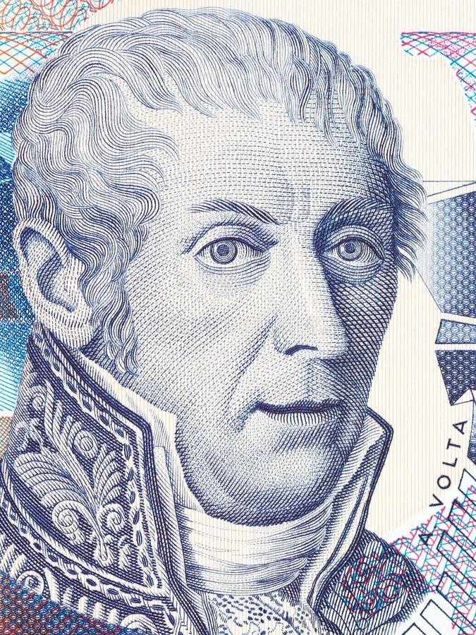 Alessandro Volta-portret van Italiaans geld stock afbeelding