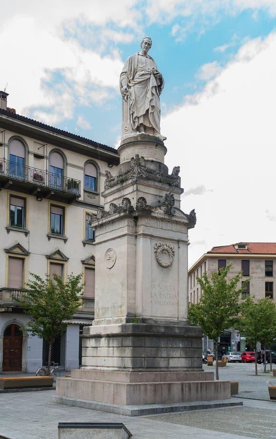 Alessandro Volta Statue royalty-vrije stock afbeeldingen