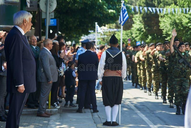 ALESSANDROPOLI, GRECIA 14 MAGGIO 2018: Presidente greco Prokopis Pav fotografie stock