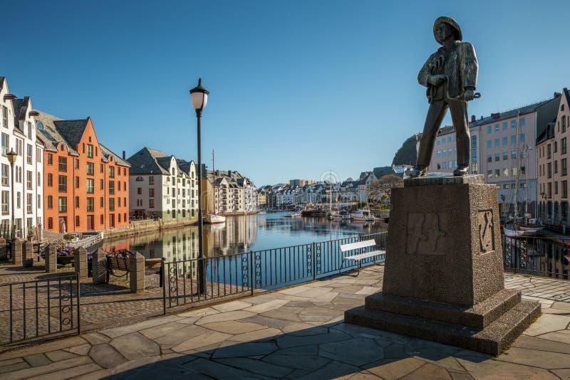Alesund历史的市中心,挪威 免版税库存照片