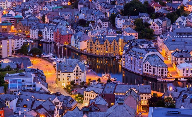 Alesund -挪威的都市风景 库存照片