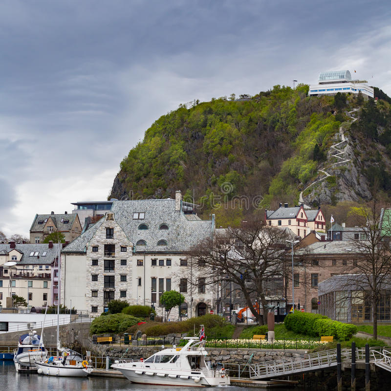 Alesund and Aksla view point. On an overcast day stock photo