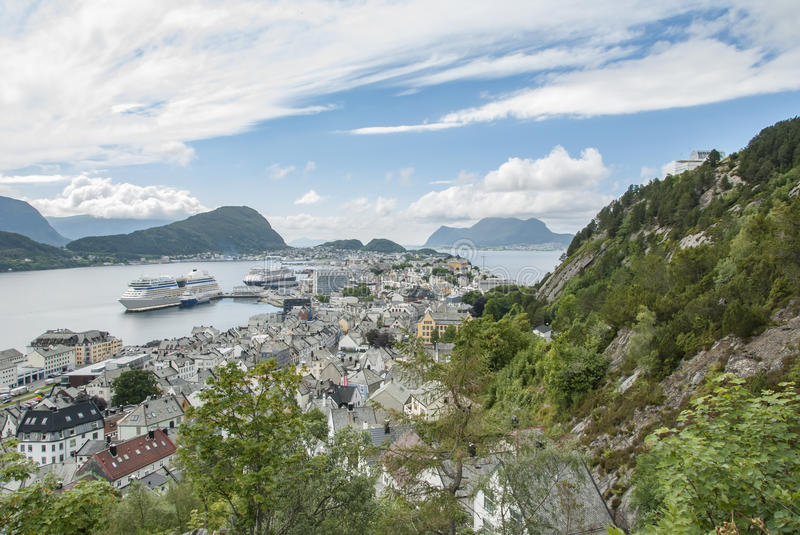 Alesund city view from south of Aksla. Alesund city in Norway, view from south of Aksla royalty free stock photography