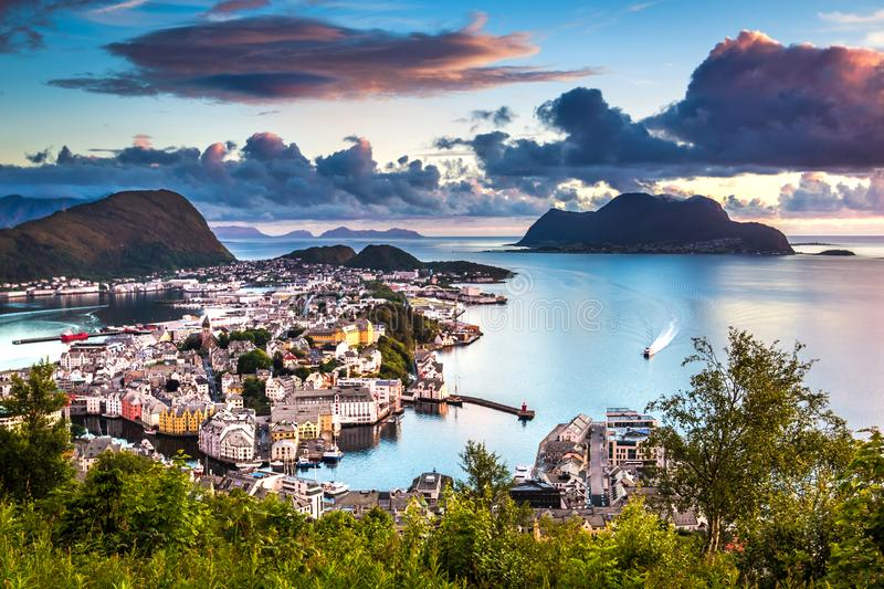 Dreamy Alesund at Sunset. This photo was taken from Mount Aksla viewpoint around midnight in Summer in Alesund, More og Romsdal County, Norway stock image