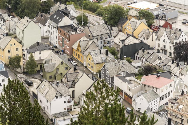 Alesund from Mount Aksla. Ã…lesund from Mount Aksla. Ã…lesund is a port town on the west coast of Norway, at the entrance to the Geirangerfjord. It royalty free stock image