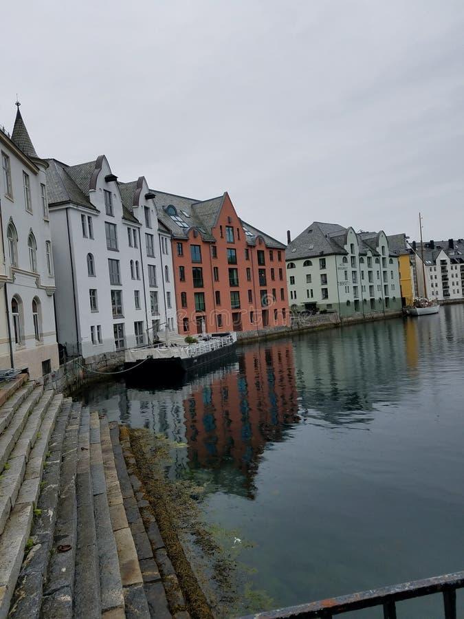 Alesund, Noorwegen - haven royalty-vrije stock foto