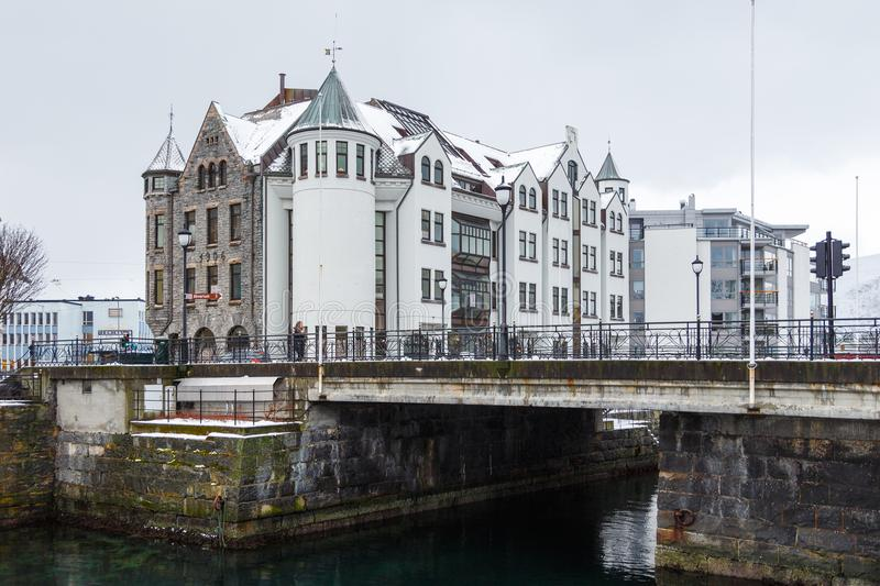 View of Alesund port town. City center. royalty free stock images