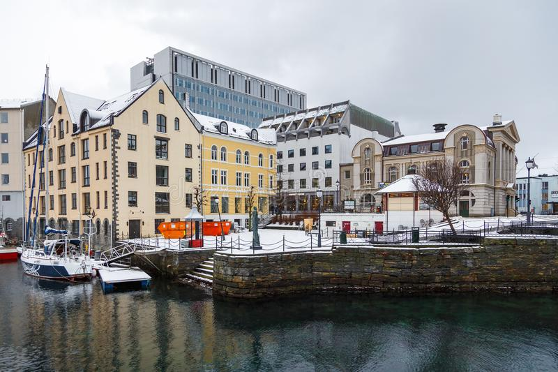 View of Alesund port town. City center. royalty free stock photos