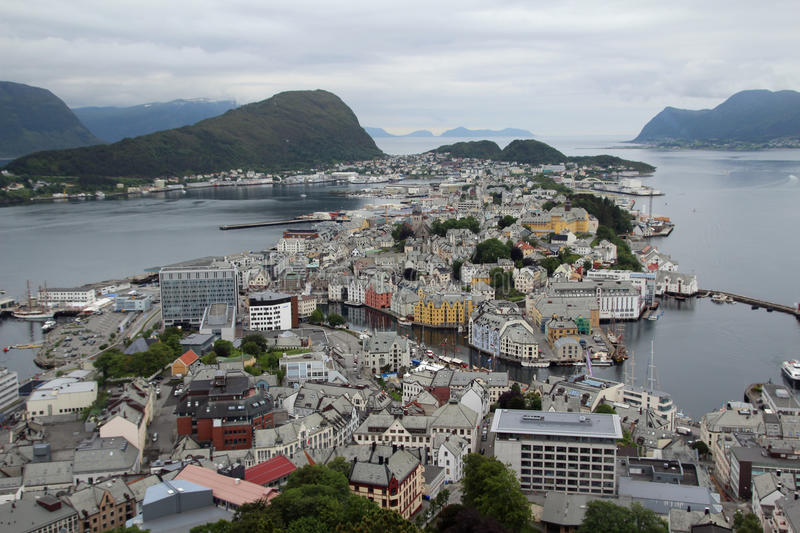 Alesund, view from the Aksla hill stock images