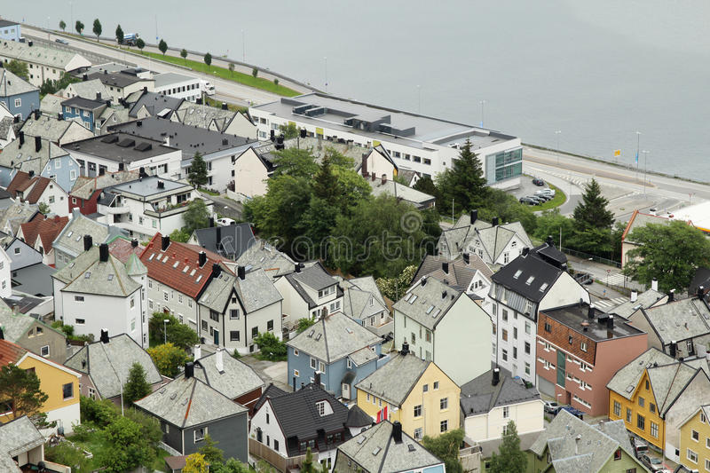 Alesund, view from the Aksla hill. City in Norway royalty free stock photo