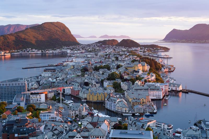 Alesund - view from Aksla Mount, Norway. Alesund is a port and tourist city in Norway. View point on Mount Aksla stock images