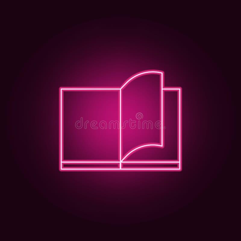 aleta através de um ícone do livro Elementos dos livros e dos compartimentos nos ícones de néon do estilo Ícone simples para Web  ilustração stock