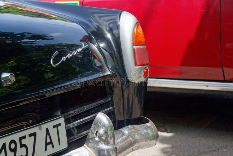 Aleta de cola y luces posteriores de la imagen común automotriz del vintage de Ford Consul Mark II imagen de archivo