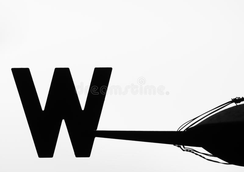 Aleta de vento velha que aponta para o oeste ilustração do vetor