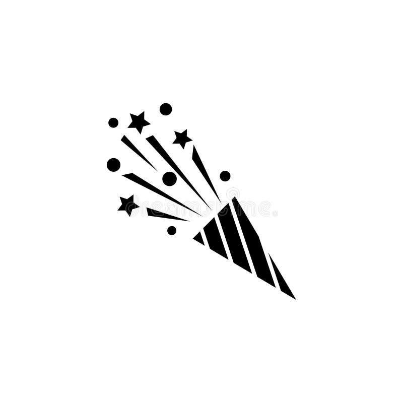Aleta del partido, icono plano del vector de Popper del confeti stock de ilustración