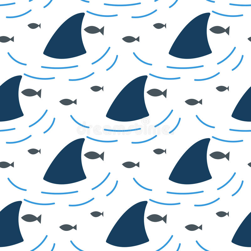 Aleta del tiburón en modelo inconsútil de las ondas de agua stock de ilustración