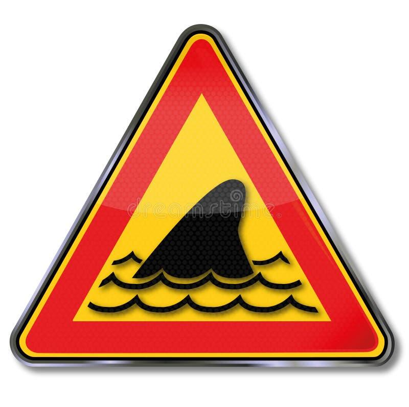 Aleta del tiburón y ataque subacuático ilustración del vector