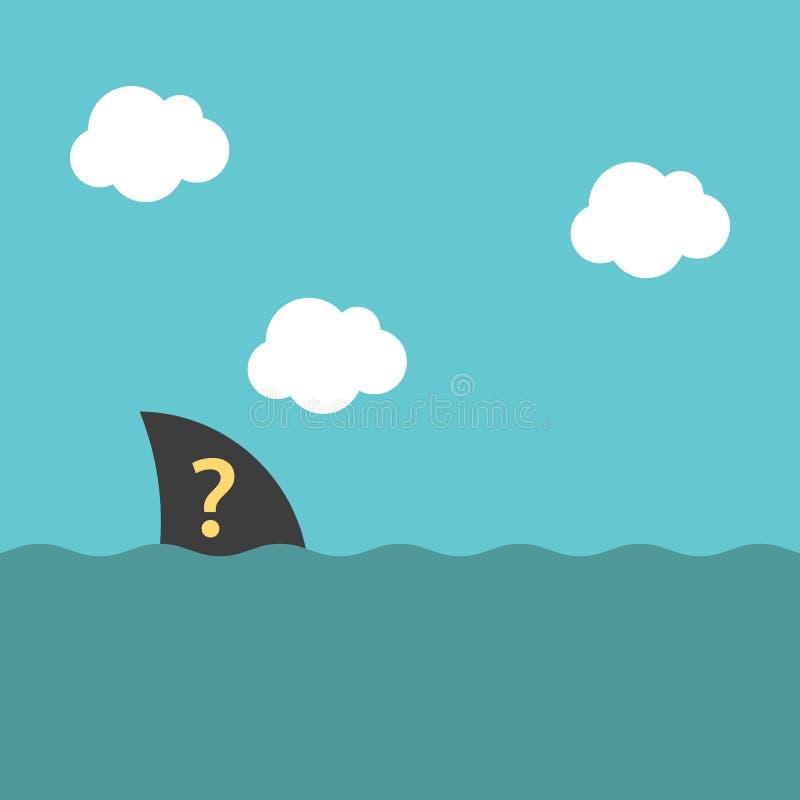Aleta desconhecida à superfície da àgua ilustração royalty free