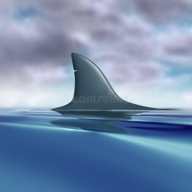 Aleta do tubarão à superfície da àgua imagens de stock royalty free