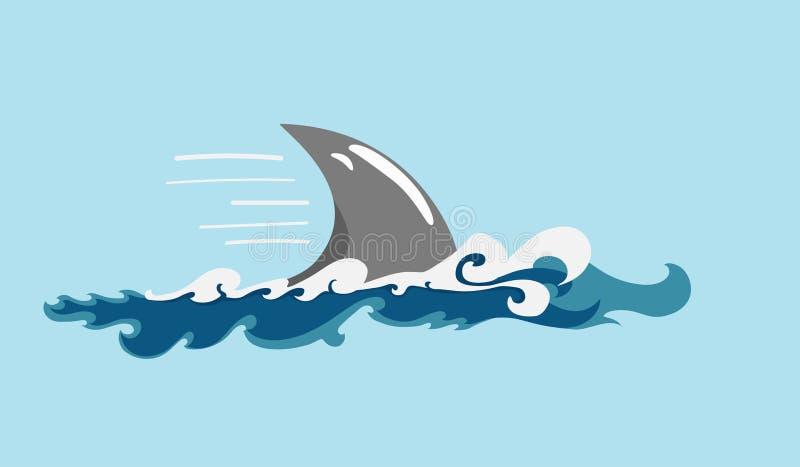 A aleta do tubarão ilustração do vetor