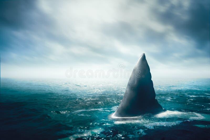 Aleta do tubarão branco à superfície da àgua ilustração do vetor