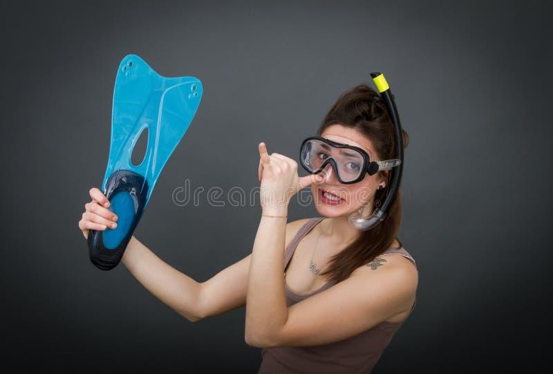 Aleta y máscara del buceador fotos de archivo