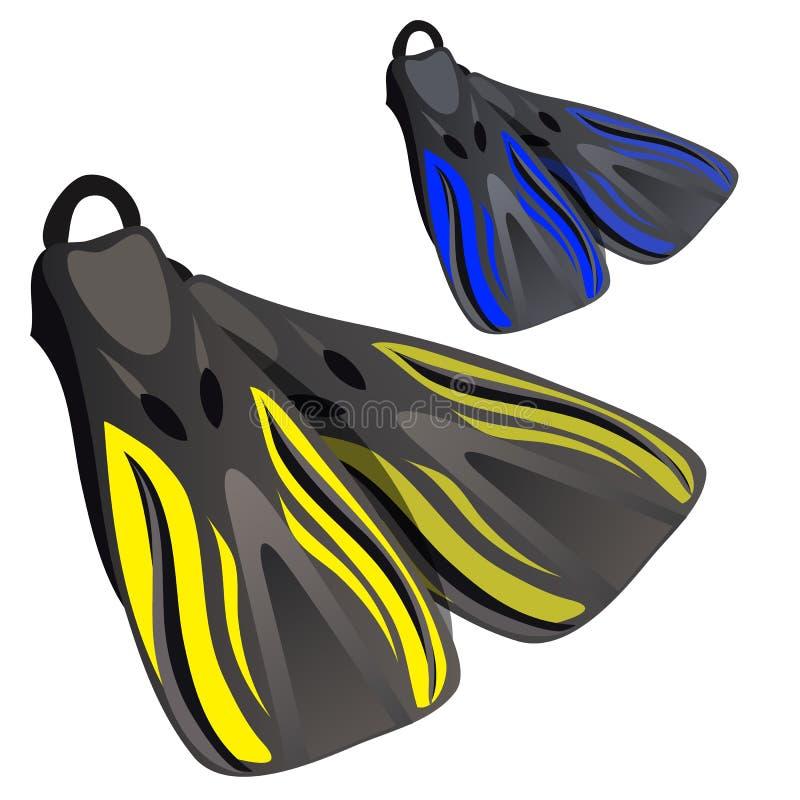 Aletas amarelas e azuis Elemento do terno de mergulho ilustração do vetor