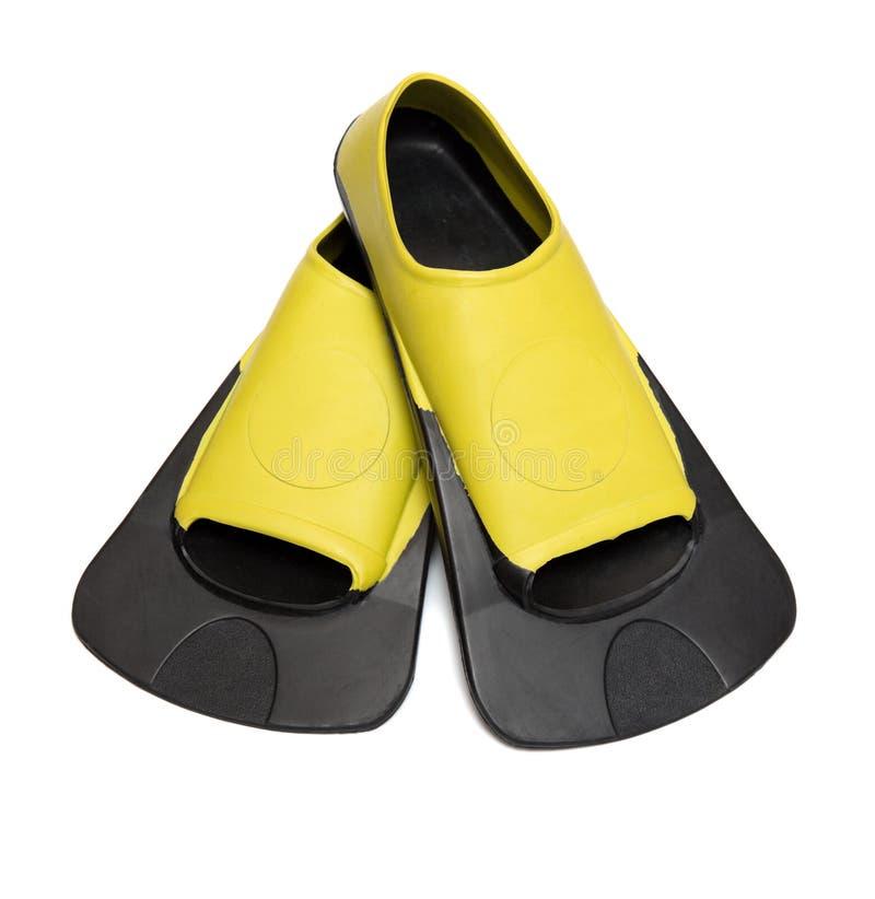 Aletas amarillas para la natación imagen de archivo