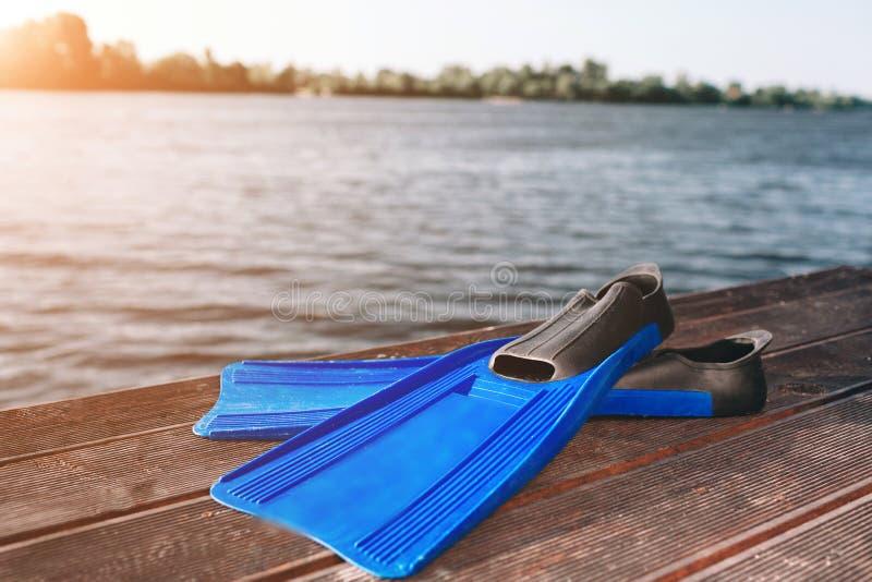 Aletas azuis que encontram-se na costa do rio da areia Sun brilha Flutuação do rio Natureza pura Sun brilha Céu azul claro foto de stock royalty free