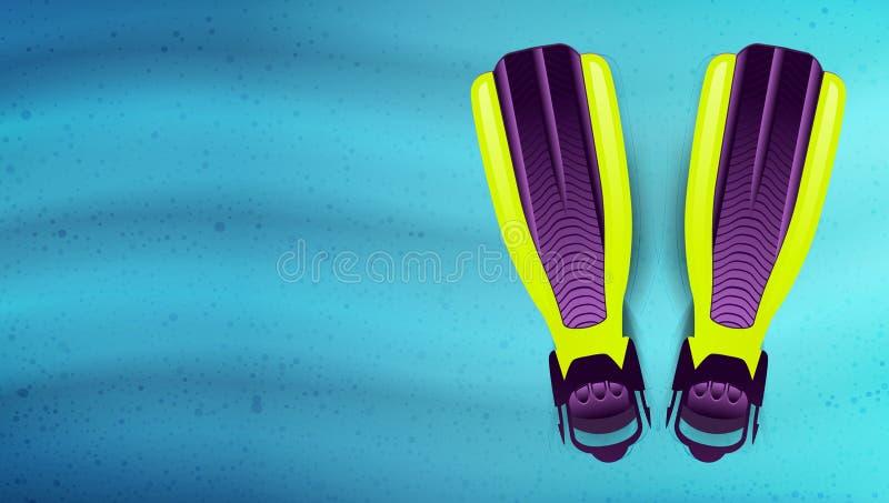 Aletas da natação sob a água Vetor ilustração stock